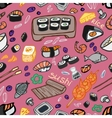 Japanese food - sushi doodle pattern vector image