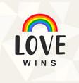 Love wins gay pride slogan with lettering vector image
