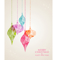 Merry Christmas hanging bauble greeting card vector image