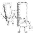 pair school ruler comic character kawaii vector image