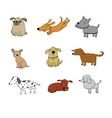 Set of funny cartoon dogs vector image