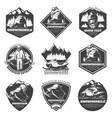 monochrome winter sport extreme labels set vector image