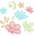 Lace floral color elements isolated on white vector image