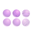 striped violet ball logo vector image vector image