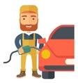 Gasoline boy filling up fuel vector image