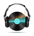 vinyl with headphones vector image vector image