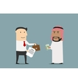 Businessman selling a part of business to arab vector image vector image