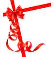 background with red gift bow and red ribbons vector image vector image