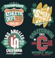 california t-shirt graphics set sport wear vector image