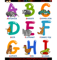cartoon english alphabet with animals vector image