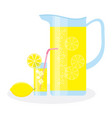 jug and glass with lemonade vector image