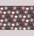 seamless pattern teapots pink vector image