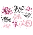 set of hand lettering valentines day vector image
