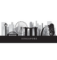 singapore landmarks skyline in black and white vector image
