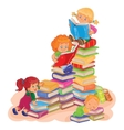 Small children reading a book vector image