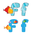 letter F fish vector image vector image