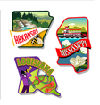 Arkansas Mississippi Louisiana luggage stickers vector image
