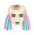 blonde girl with colorful pigtails isolated on vector image