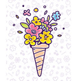colorful of flower composition in waffle con vector image