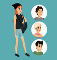 young woman standing bag short circle icons vector image