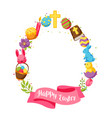 happy easter frame with decorative objects eggs vector image vector image