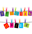 Special offer words hanging on a rope vector image vector image
