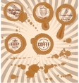 set of coffee stains with stamps and splashes vector image
