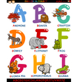 cartoon english alphabet with animals vector image