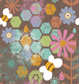 Floral seamless print with honey bees vector image