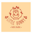 kids club logo with bunny cute kindergarten sign vector image