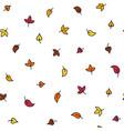 minimalistic autumn leaves doodle seamless pattern vector image
