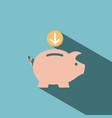 piggy bank icon on blue background vector image