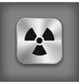 Radioaktivity icon - metal app button vector image