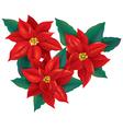 Red Poinsettia christmas flower vector image