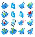 shopping cart icons set isometric style vector image