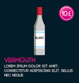 vermouth card template with price and flat vector image