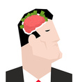 Business brain Businessman thinks of money Head of vector image