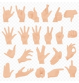 Realistic human hands icons and symbols set Emoji vector image