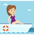 Young happy woman tanning on sailboat vector
