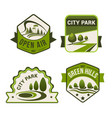 city park green icons set vector image vector image