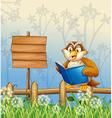 An owl reading a book beside a wooden signboard vector image