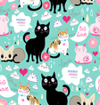pattern lovers cats vector image vector image