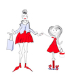 beautiful woman with small girl vector image