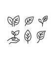black leaves icons vector image