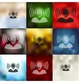 call center icon on blurred background vector image