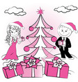 christmas tree and couple of lovers vector image