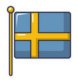 flag of sweden icon cartoon style vector image