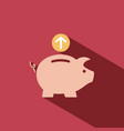 piggy bank icon on red background vector image