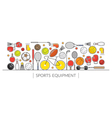 Sports Equipment Line Icons Display Banner vector image