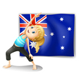 A girl stretching in front of an Australian flag vector image